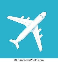 Jet passenger airplane on blue isolated background.
