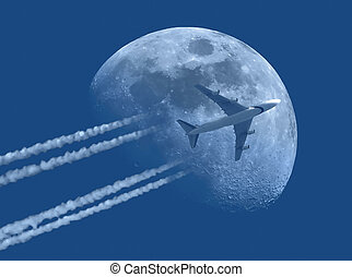 Jet plane and Moon