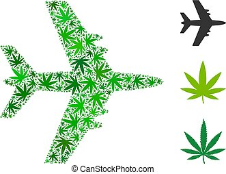 Jet Plane Collage of Cannabis - Jet plane mosaic of cannabis...