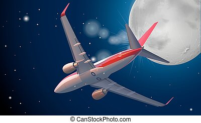 Jet plane flying in the dark sky