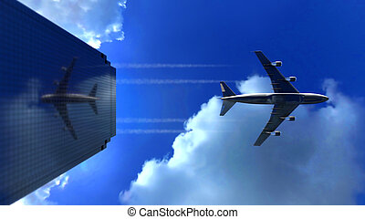 Jet plane flying low over commercial office building skyscraper and reflects in its glass surface