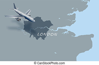 jet plane flying over map of London