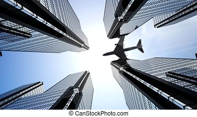 Jet plane flying over skyscrapers in business district - bottom view. Business and financial success concept. 3D animation in 4k resolution (3840 x 2160 px)