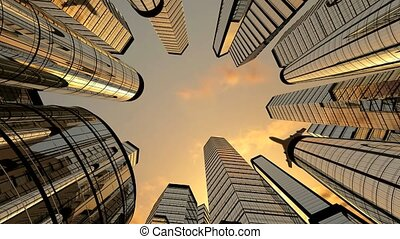 Jet plane flying over skyscrapers in business district, sunset sky, bottom view. Business and financial success concept. 3D animation in 4k resolution (3840 x 2160 px)