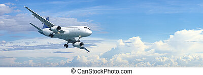 Jet plane in a blue cloudy sky is maneuvering for landing....