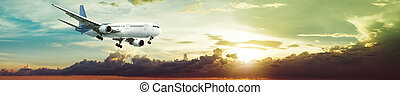 Jet plane is maneuvering for landing in a spectacular sunset...