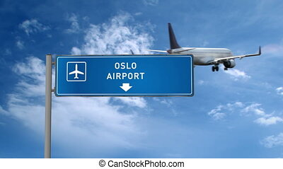 Airplane landing in Oslo, Norway. City arrival with airport direction sign. Travel and transport concept 3d animation.