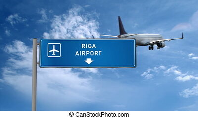 Airplane landing in Riga, Latvia. City arrival with airport direction sign. Travel and transport concept 3d animation.