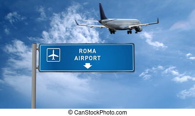 Jet plane landing in Roma