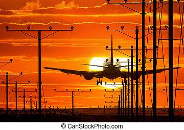 Jet plane landing - Jet plane departing airport runway over ...