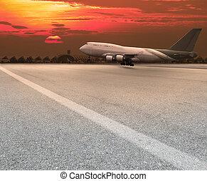 jet plane landing on runway