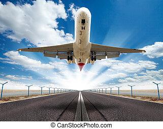 Jet plane - Big jet plane taking off runway
