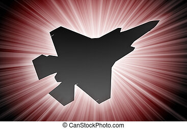 Jet plane silhouette, modern fighter in the sky