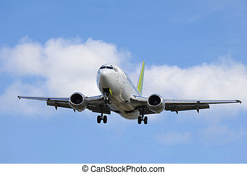 jet planen, gå, landand