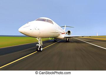 jet privé, avion, à, ternissure mouvement