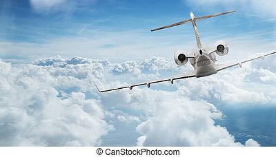 jet privato, aereo, volare, sopra, drammatico, clouds.