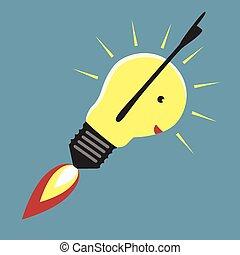 Jet-propelled lightbulb in moment of insight, EPS 8 vector illustration