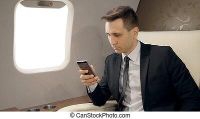 jet., provate, appel téléphonique, homme affaires, commencer