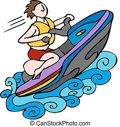 Jet Ski - An image of a man riding a jet ski.