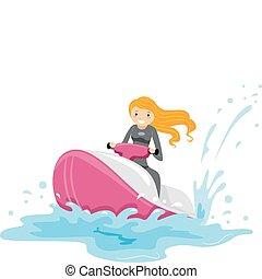 Jet Ski Girl - Illustration of a Girl Riding a Jet Ski