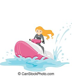 Jet Ski Girl - Illustration of a Girl Riding a Jet Ski