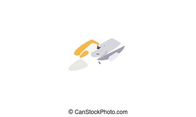 Jet ski icon animation isometric best object on white backgound
