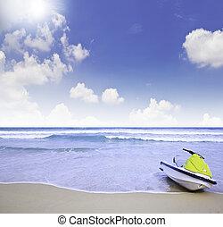 jet-ski, -, jaune, été, plage