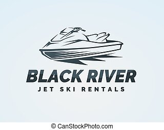Jet ski logo on blue background. Water scooter vector illustration.