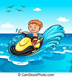 Jet ski - Man riding on water jetski in the ocean