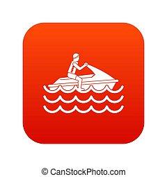 jet-ski, numérique, icône, promenades, rouges, homme