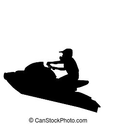 Jet-ski Racer Jumping - Isolated Image of Jet-Ski Racer...