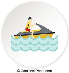 Jet ski rider icon circle - Jet ski rider icon in flat ...