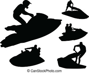 Jet ski silhouettes - vector