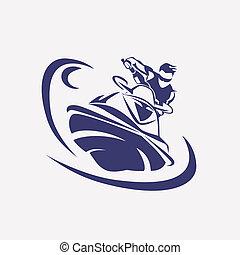 jet ski stylized vector symbol, rider on jet ski silhouette...