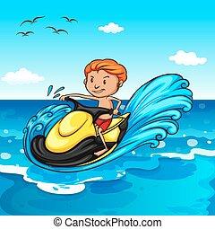 Jet ski - Man riding on water jetski in the ocean