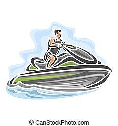 Jet ski - Vector illustration of logo for high-speed jet ski...