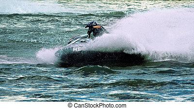 Jet ski water sport - High speed crazy jet ski water sport