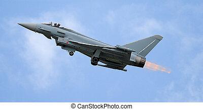 Jet take off - fighter take off with afterburner