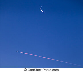 Jet Trail and early moon abstract