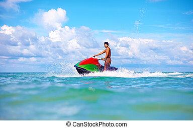 jet, vacances, exotique, océan, ski, actif, équitation, joyeux, homme