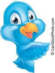 jeter coup oeil, dessin animé, pointage, oiseau bleu