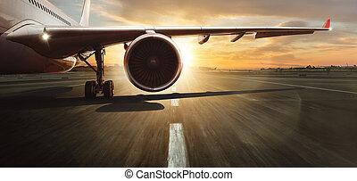 jetliner., gewerblich, turbine, flügel