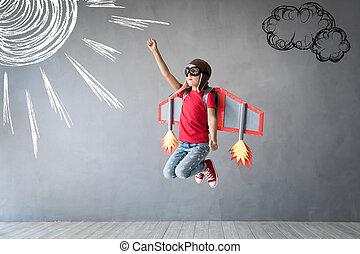 jetpack, boldog, játékszer, játék, gyermek