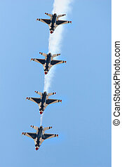 Jets in formation - Four fighter jets flying in formation...