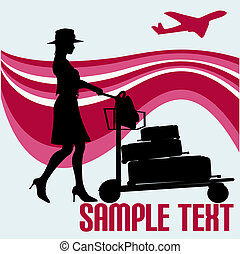 Jetset Vector Background - Air travel flyer with a tourist...