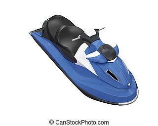 Jetski blue isolated front view - isolated color scooter on ...