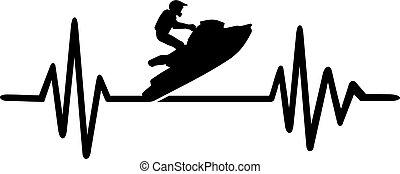 Jetski heartbeat line - Heartbeat pulse line with jetski on ...
