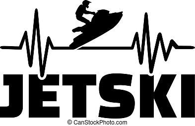 Jetski heartbeat pulse - Heartbeat pulse line with jetski on...