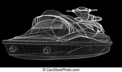 Jetski isolated front view, body structure, wire model