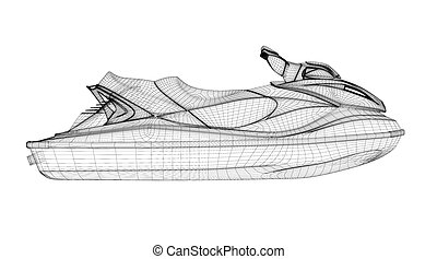 Jetski isolated front view